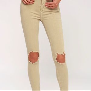FREE PEOPLE BUSTED HIGH RISE KHAKI DISTRESSED JEAN